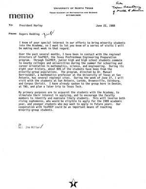 Primary view of object titled '[Memo from Rogers Redding to Alfred Hurley, June 22, 1988]'.