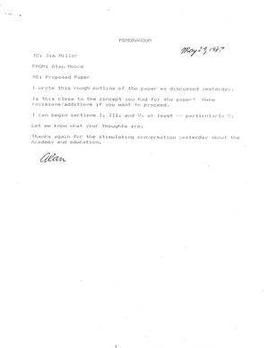 Primary view of object titled '[Memorandum from Alan Moore to James R. Miller, May 29, 1987]'.