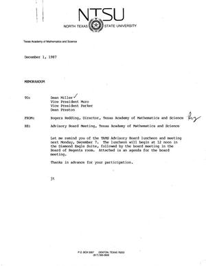 Primary view of object titled '[Memorandum from Rogers Redding, December 1, 1987]'.