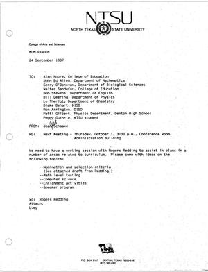 Primary view of object titled '[Memorandum from Jean Schaake, September 24, 1987]'.