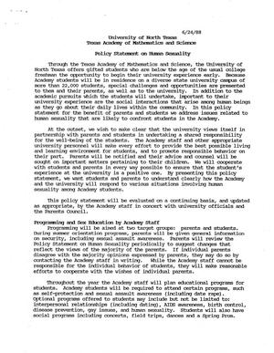 Primary view of object titled 'Texas Academy of Mathematics and Science Policy Statement on Human Sexuality'.