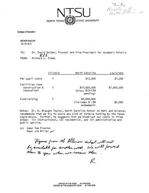 Primary view of object titled '[Memorandum from Richard L. Simms to David E. Golden, June 9, 1987]'.
