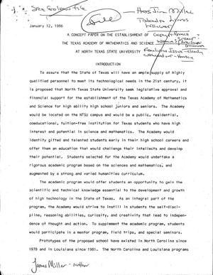 Primary view of object titled 'A Concept Paper on the Establishment of the Texas Academy of Mathematics and Science at North Texas State University'.