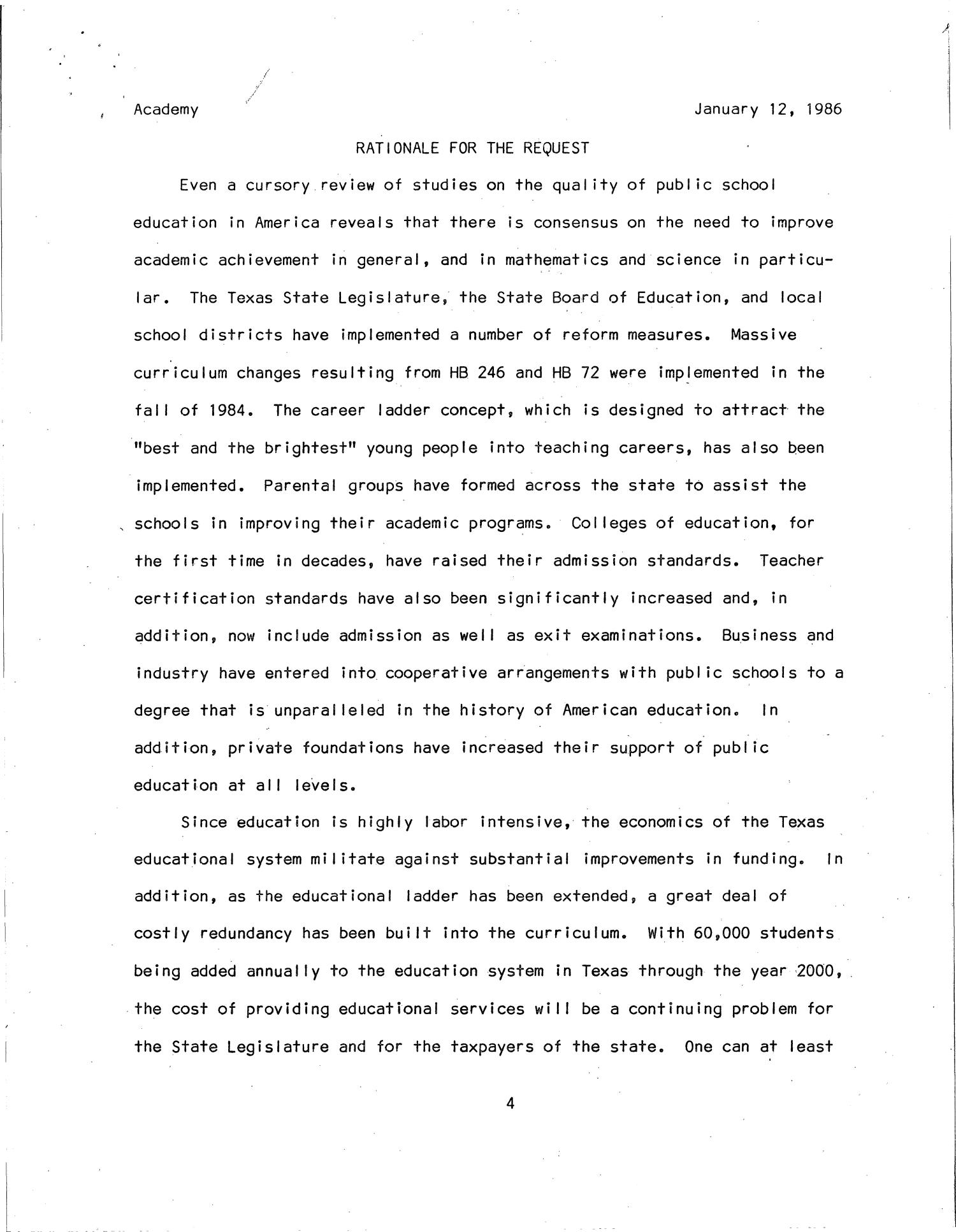 a concept paper on the establishment of the texas academy of