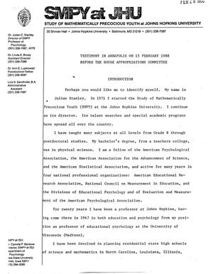 Primary view of object titled 'Testimony in Annapolis on 15 February 1988 Before the House Appropriations Committee'.