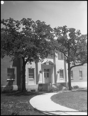 Primary view of object titled '[Industrial Arts Building, West Door]'.