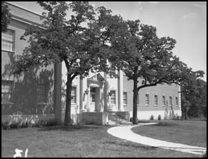 Primary view of object titled '[Industrial Arts Building, West Entrance]'.