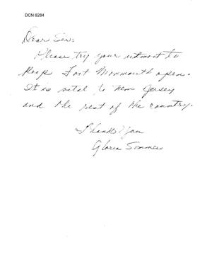 Primary view of object titled 'Community Correspondence - Letter from Gloria Summers Regarding Fort Monmouth'.
