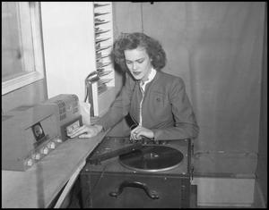 Primary view of object titled '[Billie Faye James in Radio Station]'.