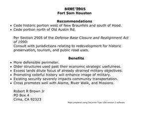 Primary view of object titled 'BRAC 2005 Fort Sam Houston Recommendations and Benefits and Maps'.