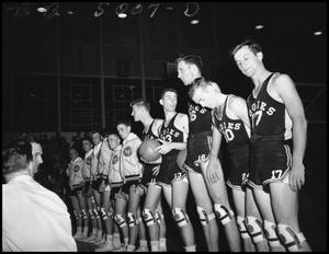 Primary view of object titled '[Basketball Team at Opening Ceremony]'.