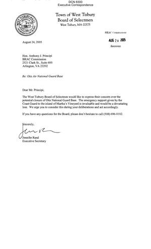 Primary view of object titled 'Executive Correspondence – Letter dtd 08/24/05 for Chairman Principi from West Tisbury, MA Board of Selectmen Executive Secretary Jennifer Rand'.