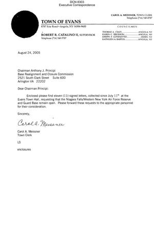 Primary view of object titled 'Executive Correspondence – Letter dtd 08/24/05 to Chairman Principi from Carol Meissner, Town Clerk of Evans, NY'.