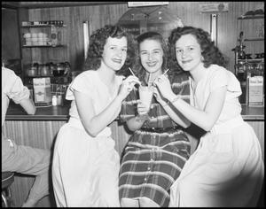 Primary view of object titled '[Three Women at Soda Fountain]'.