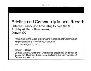 Primary view of object titled 'State Input - Briefing and Community Impact Report: DFAS Buckley Air Force Base Annex'.