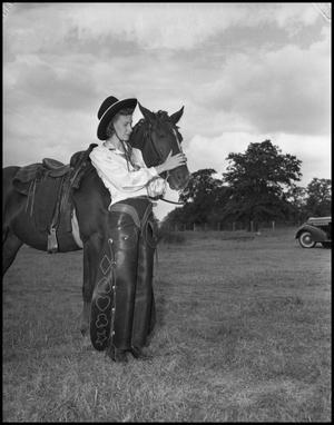 Primary view of object titled '[Mary Anna Hudson with Horse]'.
