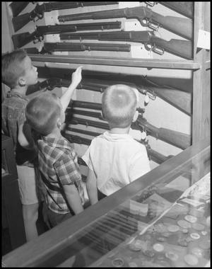 Primary view of object titled '[Three Boys Viewing Gun Case]'.