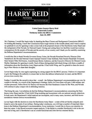Primary view of object titled 'Statements and Testimony - Representative Harry Reid - Regional Hearing June 24, 2005 Clovis, NM'.