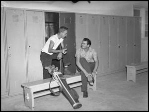 Primary view of object titled '[Men in Golf Club Locker Room]'.