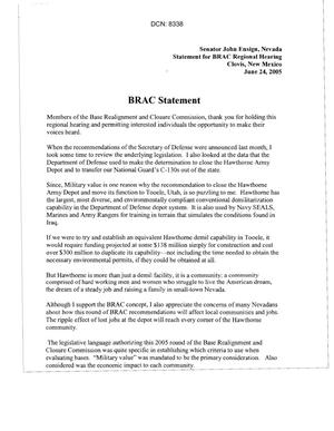 Primary view of object titled 'Statements and Testimony - Senator John Ensign - Regional Hearing June 24, 2005 Clovis, NM'.