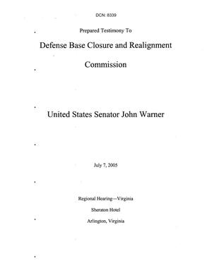 Primary view of object titled 'Statements and Testimony - Senator John Warner - Regional Hearing June 24, 2005 Clovis, NM'.