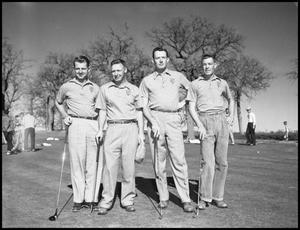 Primary view of object titled '[North Texas State Golf Team Standing on Field]'.