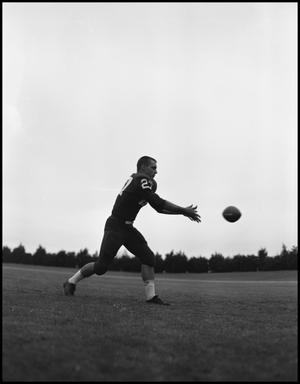 Primary view of object titled '[Football Player No. 27 about to Catch a Football, September 1962]'.