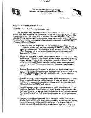 Primary view of object titled 'Memorandum dtd 11/24/04 for ALMAJCOM/CC from Secretary of the Air Force James Roche and USAF Chief of Staff General John Jumper'.
