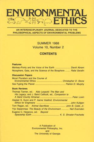 Primary view of object titled 'Environmental Ethics, Volume 10, Number 2, Summer 1988'.