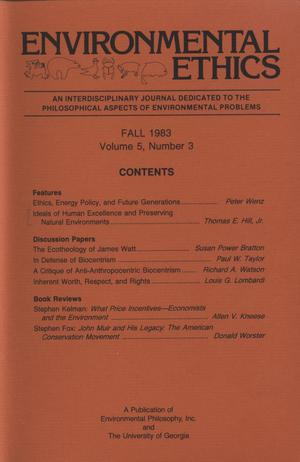 Primary view of object titled 'Environmental Ethics, Volume 5, Number 4, Winter 1983'.