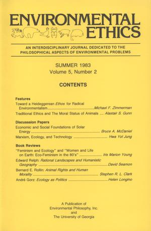 Primary view of object titled 'Environmental Ethics, Volume 5, Number 2, Summer 1983'.