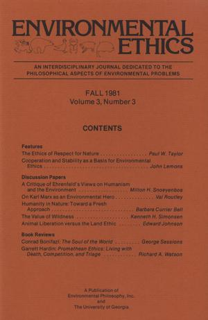 Primary view of object titled 'Environmental Ethics, Volume 3, Number 3, Fall 1981'.