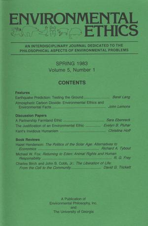 Primary view of object titled 'Environmental Ethics, Volume 5, Number 1, Spring 1983'.