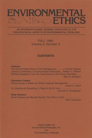 Primary view of object titled 'Environmental Ethics, Volume 2, Number 3, Fall 1980'.