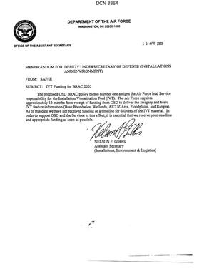 Primary view of object titled 'Memorandum dtd 04/15/03 to the Deputy Undersecretary of Defense (Installations and Environment) from Nelson Gibbs, Assistant Secretary of the Air Force (Installations, Environment & Logistics)'.