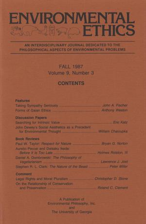 Primary view of object titled 'Environmental Ethics, Volume 9, Number 3, Fall 1987'.