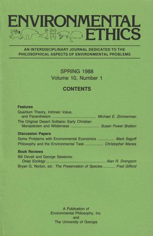 Primary view of object titled 'Environmental Ethics, Volume 10, Number 1, Spring 1988'.