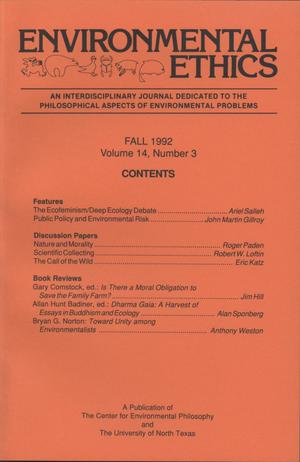 Primary view of object titled 'Environmental Ethics, Volume 14, Number 3, Fall 1992'.