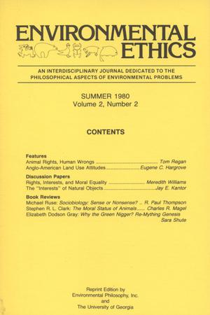 Primary view of object titled 'Environmental Ethics, Volume 2, Number 2, Summer 1980'.