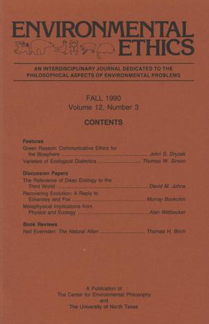 Primary view of object titled 'Environmental Ethics, Volume 12, Number 3, Fall 1990'.