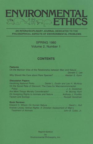 Primary view of object titled 'Environmental Ethics, Volume 2, Number 1, Spring 1980'.