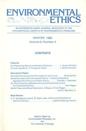 Primary view of object titled 'Environmental Ethics, Volume 2, Number 4, Winter 1980'.