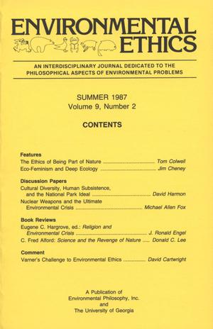 Primary view of object titled 'Environmental Ethics, Volume 9, Number 2, Summer 1987'.