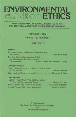 Primary view of object titled 'Environmental Ethics, Volume 12, Number 1, Spring 1990'.