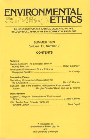 Primary view of object titled 'Environmental Ethics, Volume 11, Number 2, Summer 1989'.
