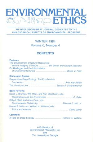 Primary view of object titled 'Environmental Ethics, Volume 6, Number 4, Winter 1984'.