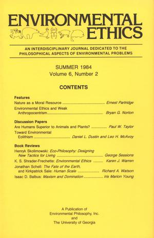 Primary view of object titled 'Environmental Ethics, Volume 6, Number 2, Summer 1984'.