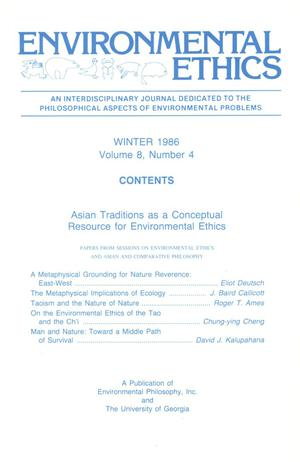 Primary view of object titled 'Environmental Ethics, Volume 8, Number 4, Winter 1986'.