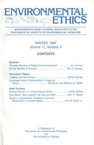 Primary view of object titled 'Environmental Ethics, Volume 11, Number 4, Winter 1989'.
