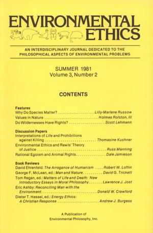 Primary view of object titled 'Environmental Ethics, Volume 3, Number 2, Summer 1981'.